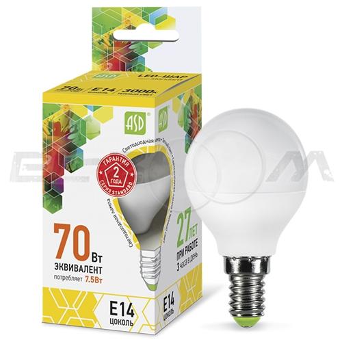 Лампа светодиодная ШАР ASD 7.5Вт 3000K E14 220В матовое стекло