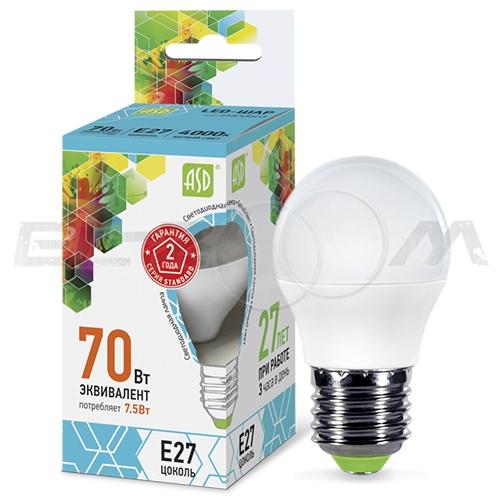 Лампа светодиодная ШАР ASD 7.5Вт 4000K E27 220В матовое стекло