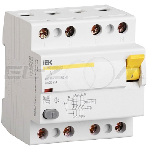 Устройство защитного отключения IEK ВД1-63 4п 63А 30мА AC