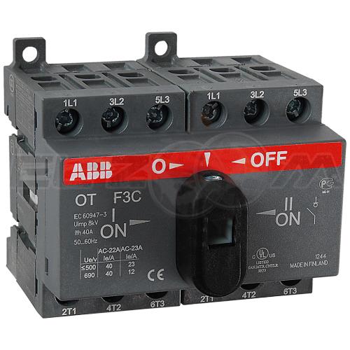 Рубильник реверсивный ABB OT40F3С 3п 40А 2 направления