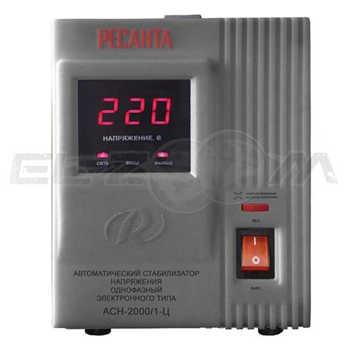 Стабилизатор напряжения однофазный 2000Вт электронного типа Ресанта ACH-2000/1-Ц