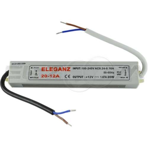 Блок питания (трансформатор) 220-12В, 20Вт, IP67 для светодиодных лент