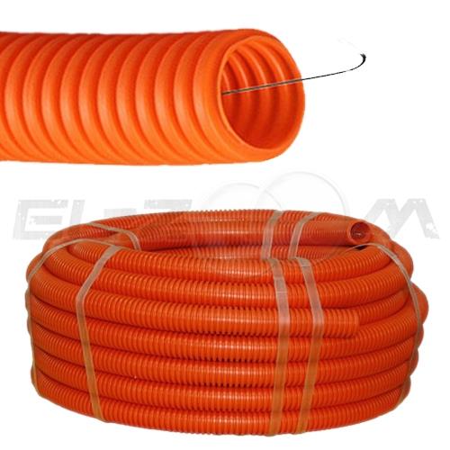 Труба гофрированная ПВХ D=16 c зондом оранжевая (100м.)