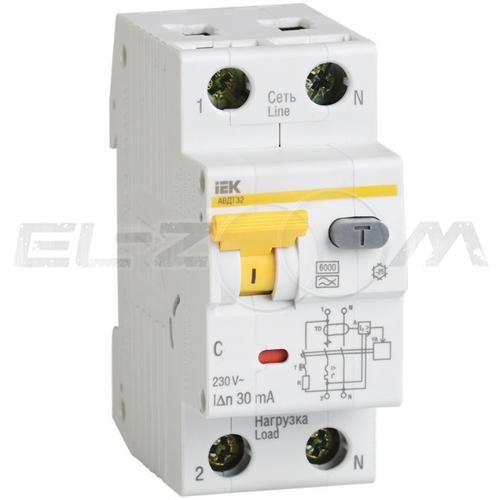 Дифференциальный автомат IEK АВДТ32 2п C16 30мА AC