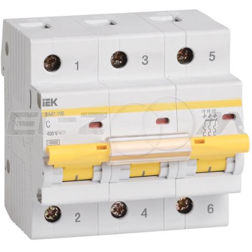 Автоматический выключатель IEK ВА47-100 3п C80 10кА