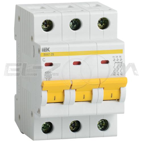 Автоматический выключатель IEK ВА47-29 3п C25 4,5кА