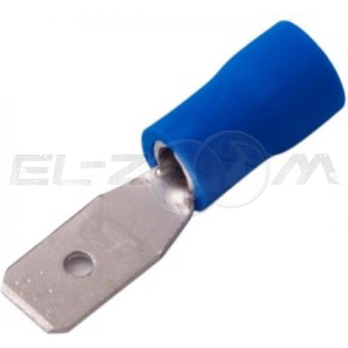 Клемма плоская КППИ штекер 4,8 мм 0.5-1.5 кв.мм. полностью изолированная, синяя (100шт.)