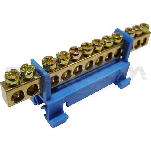 """Шина """"0"""" соединительная 12 контактов с изолятором на DIN-рейку"""