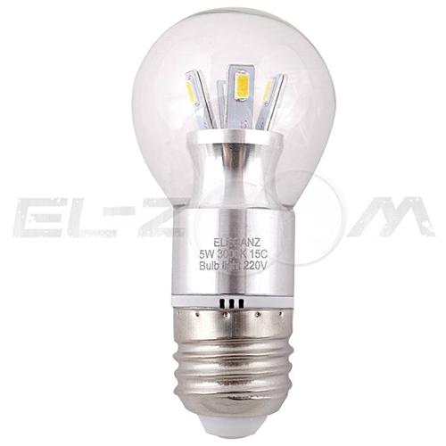 Лампа светодиодная ШАР Eleganz 5Вт 3000K E27 220В прозрачное стекло