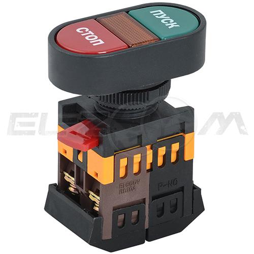 """Кнопка """"ПУСК-СТОП"""" APВВ-22N 22 мм, 230В, 1н.о. + 1н.з., IP40, TDM"""