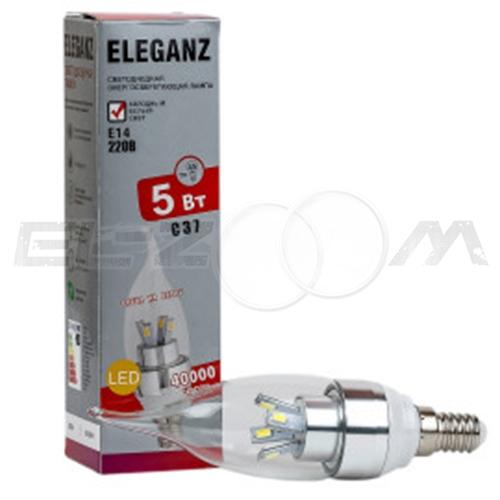 Лампа светодиодная СВЕЧА на ветру Eleganz 5Вт 3000K E14 220В прозрачное стекло