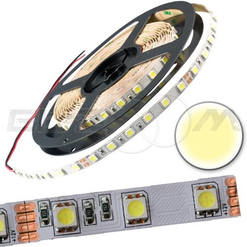 Светодиодная лента SMD 5050 IP20, 12В 14,4Вт/м L60 белый (теплый) (5м.)