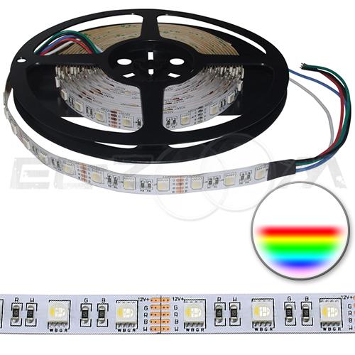 Светодиодная лента SMD 5050 IP20, 12В 14,4Вт/м L60 RGB+W 6500K (5м.)