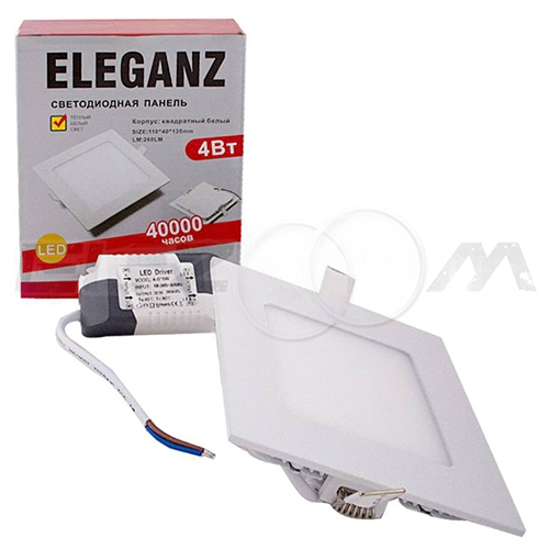 Светодиодная панель квадратная Eleganz 4Вт 230В 3000К 350Лм IP33