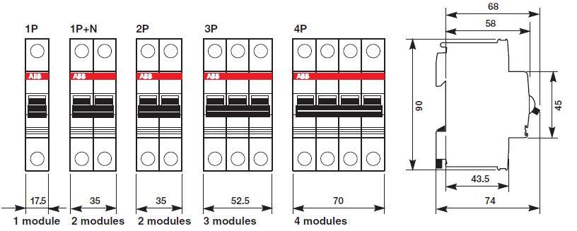 выключателей ABB серии SH.
